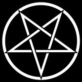 Satanic Pentagram - A five-pointed star that is formed by drawing a continuous line in five straight segments, often used as a mystic and magical symbol.