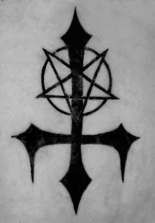 upside down cross - inverted satanic cross; symbol of satan, demons and sin