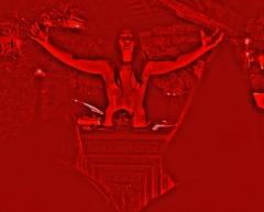 woman at satanic altar