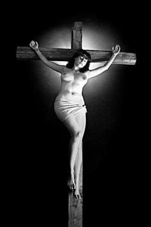 Nude Woman's Satanic Crucifixion