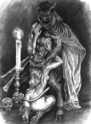 Nude Woman and Satan - Satanic Fellatio